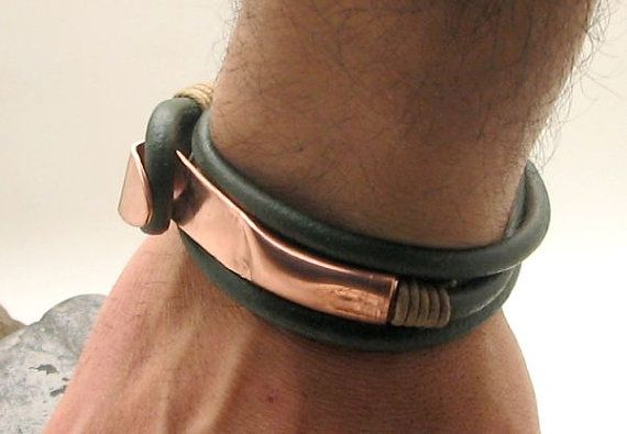 FREE SHIPPING. Men's leather bracelet. Green  leather  wrap men's bracelet with hammered copper work clasp