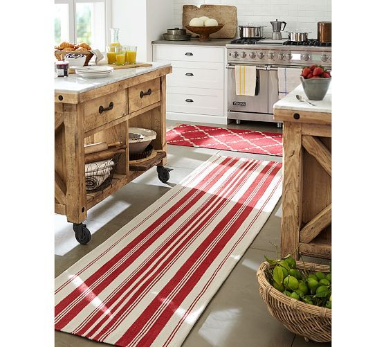 Oxford Stripe Indoor/Outdoor Rug - Red | Pottery Barn   kitchen love - white cabinets, dark soapstone counters, white subway tile backsplash, movable island w/ marble top!