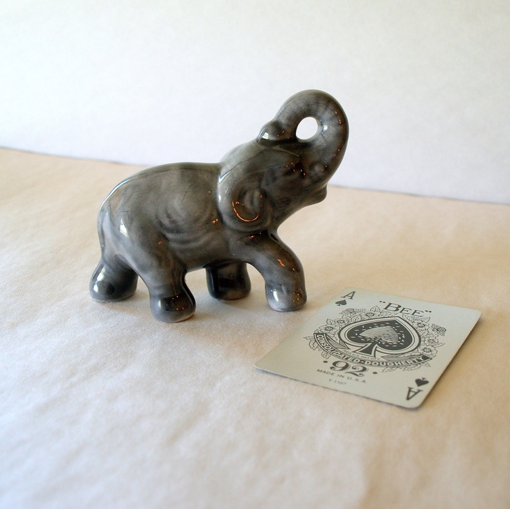 Lucky Elephant Vintage 50s Collectible Figurine Small Grey Elephant C