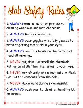 Here's a set poster of safety rules for the science lab.