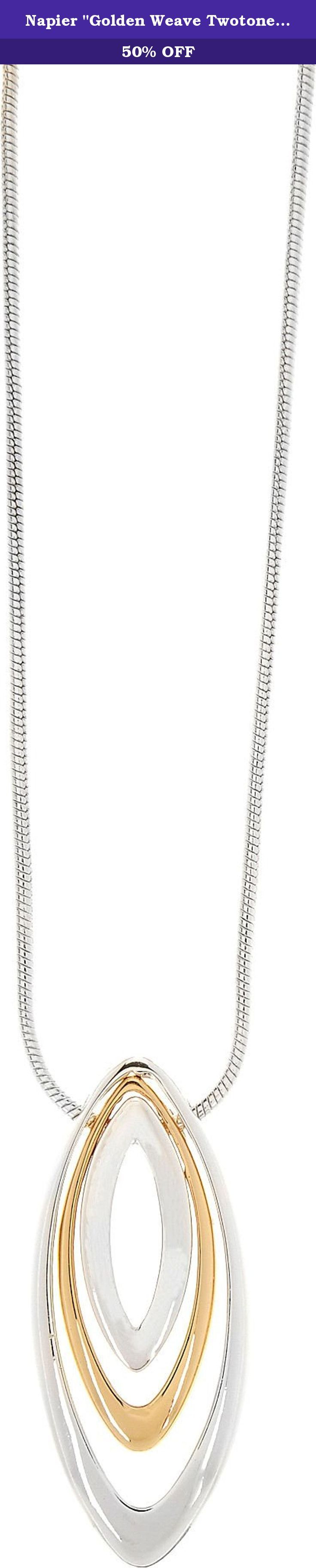"""Napier """"Golden Weave Twotone"""" Two-Tone Adjustable Pendant Necklace, 16"""" + 3"""" Extender. Necklace by Napier brings to life great style with a snake chain design along with a pendant of two tone marquise inspired shapes. Length is 16 in. and 3 in. adjustable chain. Pendant is 2 in."""
