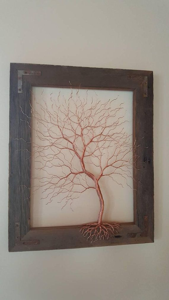 Copper Wire Tree Wire Art Metal Art Wall Decor Copper Wire Sculpture Barn Wood Frame Wire Tree Sculpture Metal Tree Metal Tree Wall Art