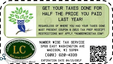 Coupon in Lodi WI for Number Wise Tax Service from Local Coupons LLC.
