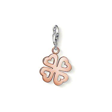 "THOMAS SABO Charm pendant ""Cloverleaf"" with lobster clasp, made from 925 Sterling silver; 18K rosé gold plated. A rose gold-plated cloverleaf with heart-shaped cut-out elements: this has to mean 'lucky in love'! Size: 1.7 cm"
