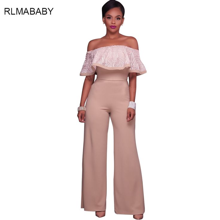 RLMABABY Fashion Ruffles Off Shoulder Apricot Long Jumpsuit Women Sexy Strapless Wide Leg Black Rompers Overalls Party Playsuit #Affiliate