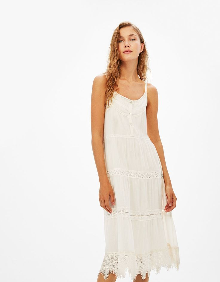 Long strappy embroidered dress - Dresses - Bershka Czech Republic