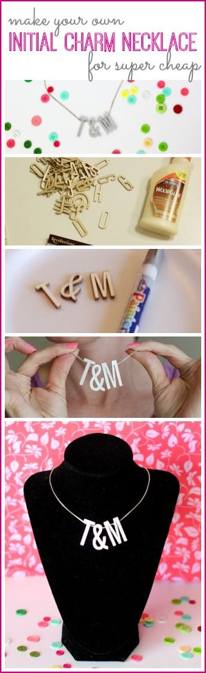 how to make your own DIY Initial Charm Necklace for Cheap  - - I love this, so fun! ~ Sugar Bee Crafts