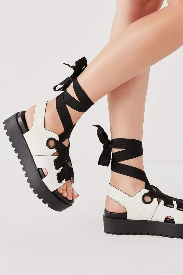 5a7148901c9 Urban Outfitters Cameron Ribbon Lace-Up Platform Sandal