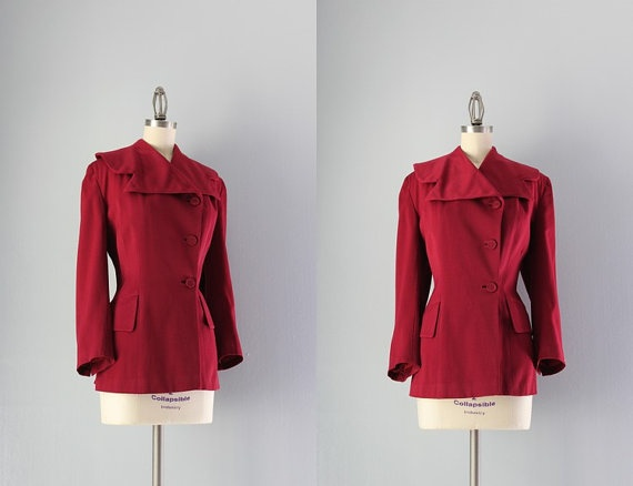 1940s Jacket / Vintage 40s Tailored Jacket / by HolliePoint, $64.00