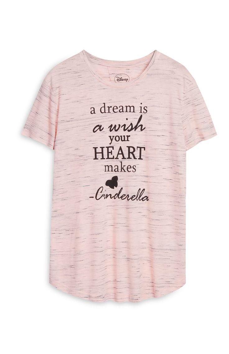 T-shirt Disney Cinderella cor-de-rosa