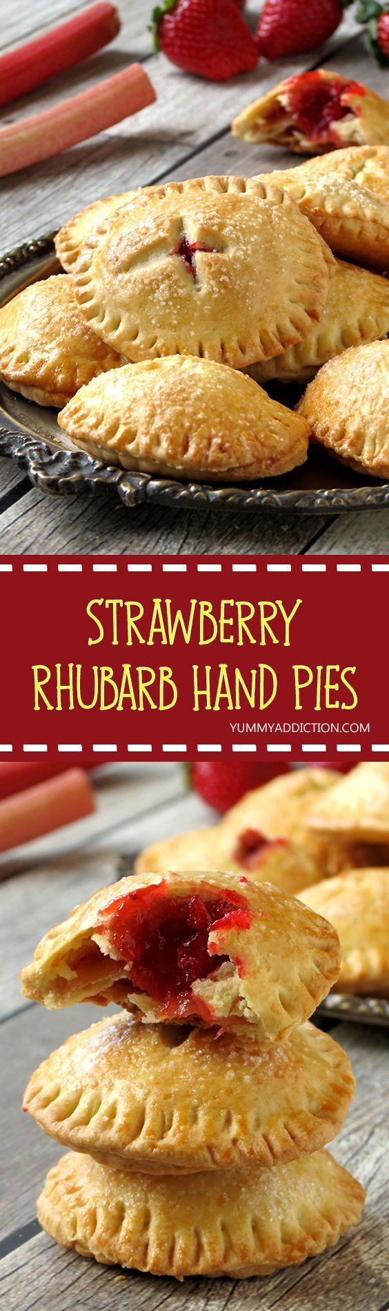 Strawberry Rhubarb Hand Pies | yummyaddiction.com