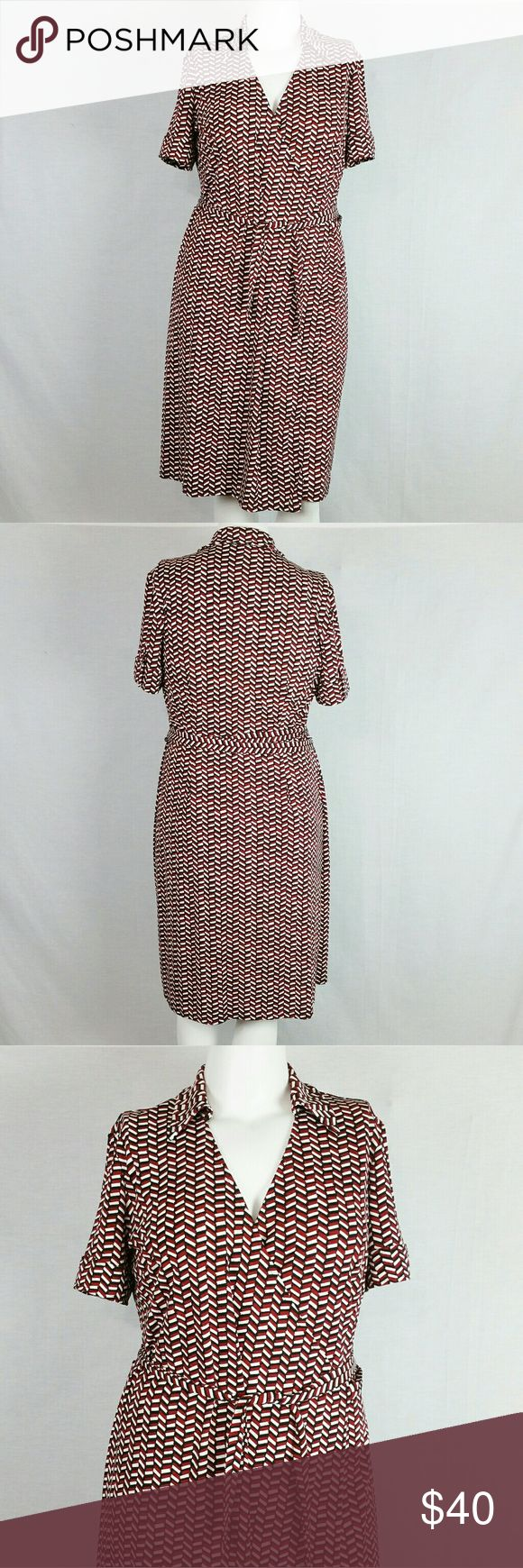 "LOFT Red Black Geo Print Wrap Dress Size 14 In excellent condition (worn once). Bust: 42"" & lenth 39"". 100% polyester. Add to a bundle to receive 20% off 3 or more items. Offers welcomed. bin p. LOFT Dresses"