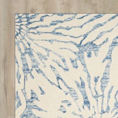 "House of Hampton Romford Hand-Tufted Dark Blue/Ivory Area Rug Rug Size: Runner 2'3"" x 7'"