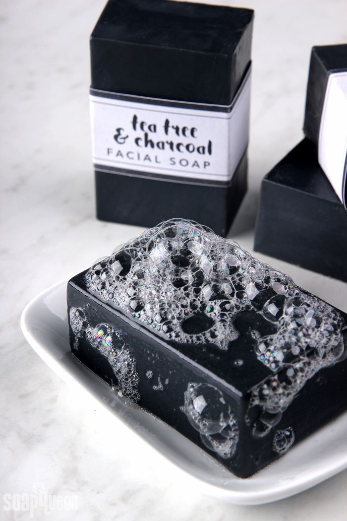 This Tea Tree & Charcoal Facial Soap recipe contains tea tree essential oil and charcoal, which are great for oily skin. Step-by-step video included.
