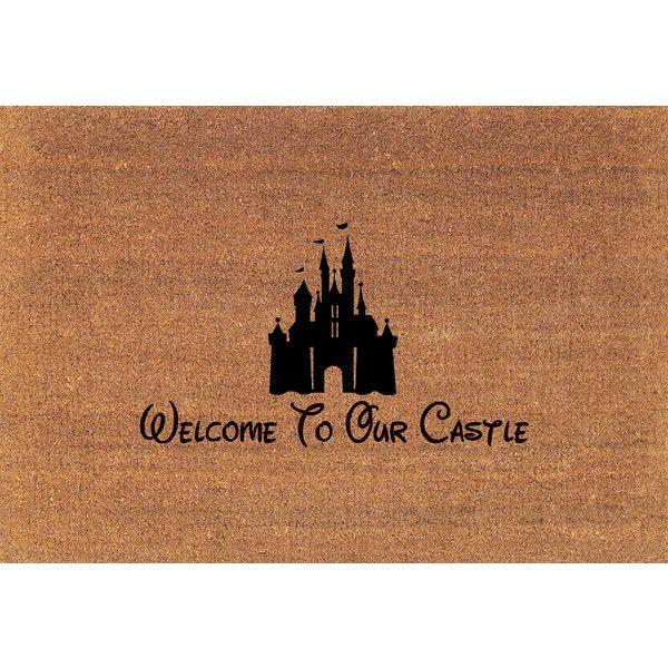 Cinderella's Castle Disney Welcome to Our Castle Door Mat Coir Doormat... ($38) ❤ liked on Polyvore featuring home, rugs, brown, floor & rugs, home & living, coir outdoor mats, coconut fiber door mats, disney area rugs, coco fiber mat and coir mat