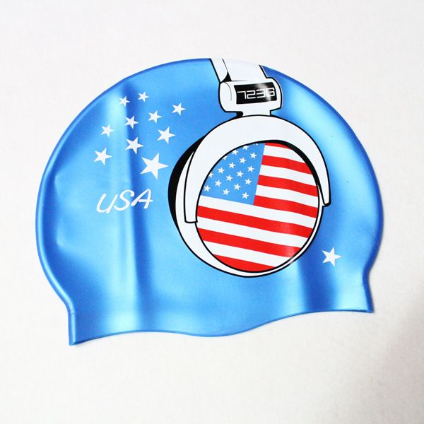 USA Flag Headphone Design Swim cap 3