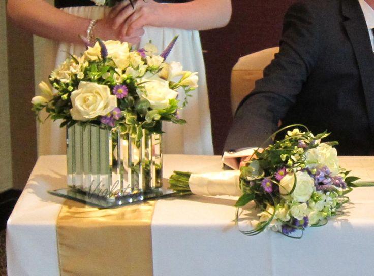 Bridal bouquet and table arrangement, spring wedding, white avalanche rose, bouvardia, purple accents