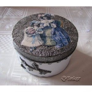 Box decorated with decoupage paper