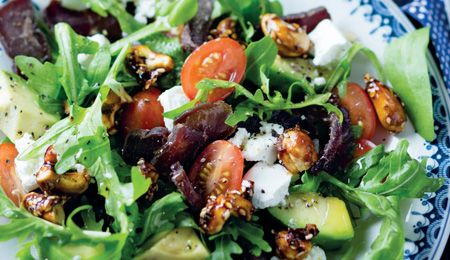 Biltong, spicy nut and avo salad #recipe. Everyone loves a bit of biltong in their avo & greens salad!