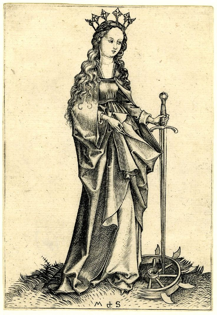 1469-82 St Catherine; standing turned to the right, the wheel on the ground Engraving Producer namePrint made by: Martin Schongauer