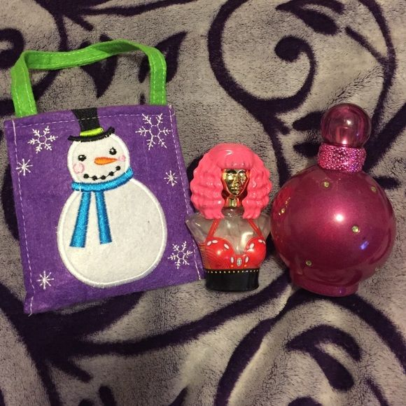 Used Britney Spears and Nikki Manaj Perfume Fantasy by Britney Spears and Minajesty by Nikki Manaj, great fruity/floral smells. Both bottles are about half empty and outsides are worn. Great price if you like these fragrances and don't mind used products. Comes with a free cute little snowman bag. Other