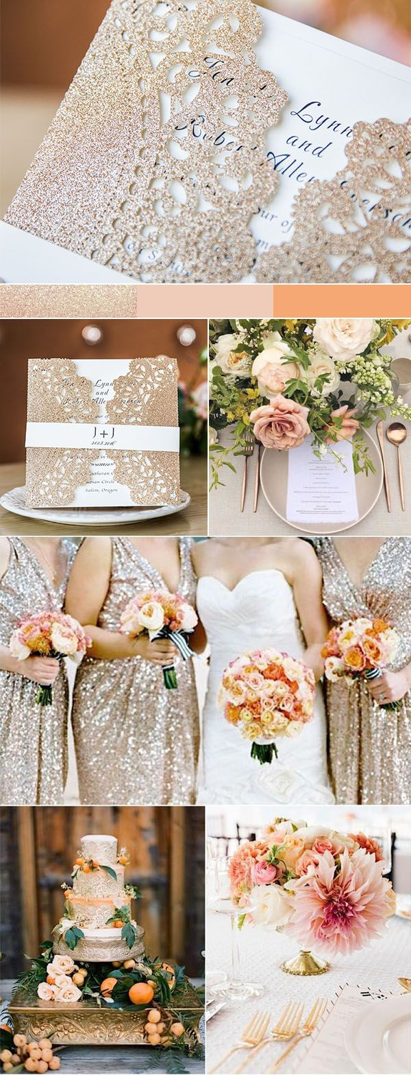 gold and peach pink classic wedding colors