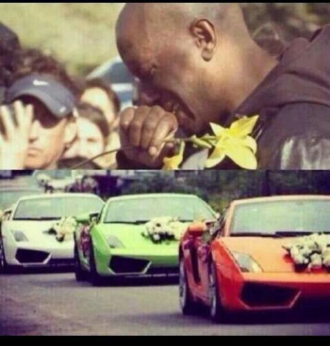 Tyrese visiting the site of the wreck, and the exotic car salute to Paul Walker after his death on 11/30/13.