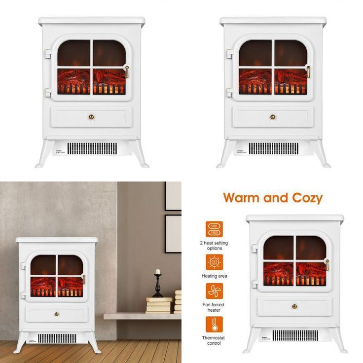 Freestanding Electric Fires Modern Fireplace Portable Stove Heater Openable Door