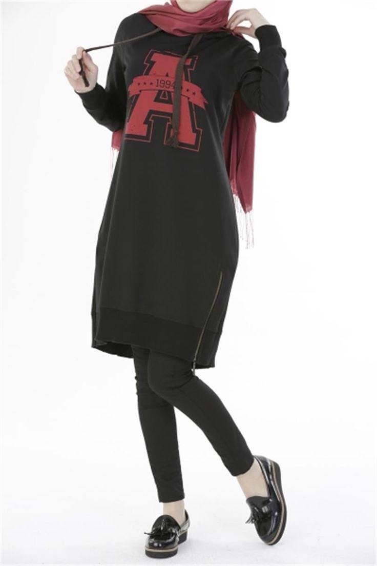 Tesettür Tunik Kapşonlu Siyah | Modelleri ve Uygun Fiyat Avantajıyla | Modabenle