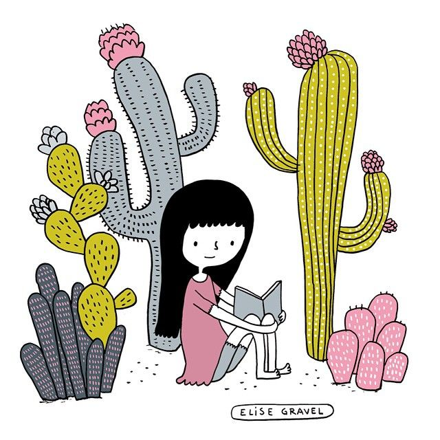 Little girl with cactus plants. Trying to work on my line art. #illustration #cactus #sketch
