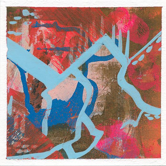 From Mati Rose's Daring Adventures in Abstract Paint - color inspiration week - mountainous neons - by April V. Walters 2016