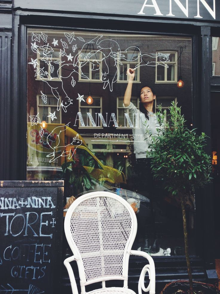 Illustrating the windows of ANNA+NINA, a lovely store in Amsterdam. More pics here: https://www.facebook.com/hyshilthedrawinggirl