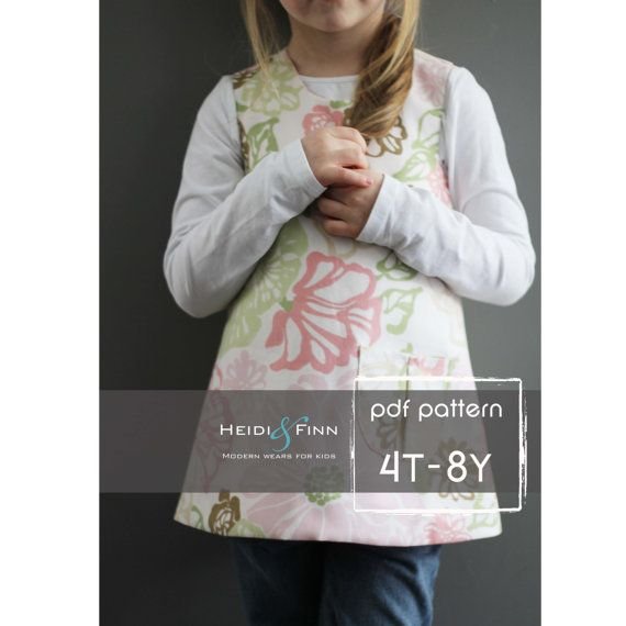 Sweet Pocket Pinafore pattern and tutorial 4T  8y door heidiandfinn, $7.49