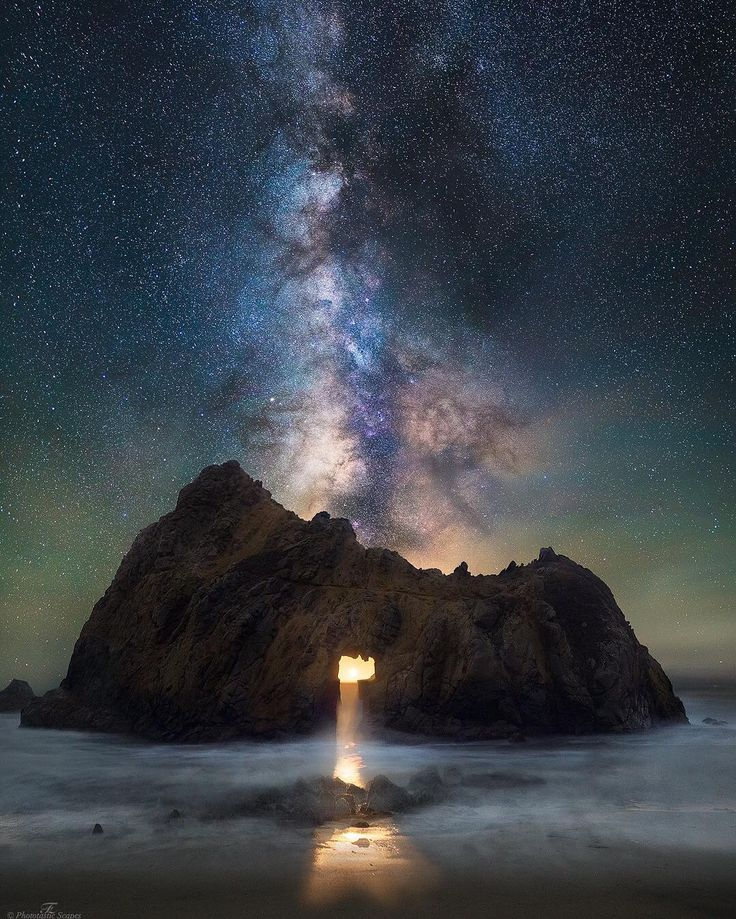 "Farhan Zaidi (@fzaidiphotos) on Instagram: ""Cosmic Portal Catching a sunset through the keyhole arch at Pfeiffer Beach requires some patience.…"""