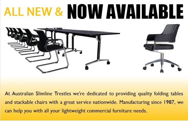Australian Slimline Trestles is Australia's leading supplier of stackable banquet chairs, round folding tables and trestle tables at very cheaper price. Request a quote now.