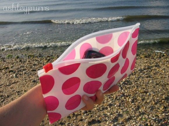 Just duct tape over plastic Ziploc baggie, and there you have it, a cute little bag for cheap!