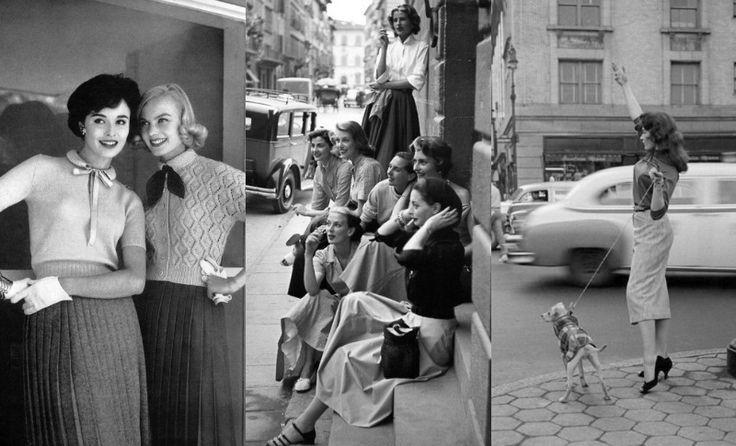 <p><span>Quer saber os elementos de <b>moda</b> que mais bombavam nos <b>anos 50</b>? Então senta que lá vem história. Foi nessa época que a <b>silhueta ladylike</b>, que ressaltava as curvas das mulheres, chegou ao seu auge. Junte a isso peças com detalhes românticos (golas trabalhadas, plissado, chapéus, luvas e lenços), estampas clássicas, como poás, e comprimentos que partiam do mídi e iam até o mini, que começava a surgir com…