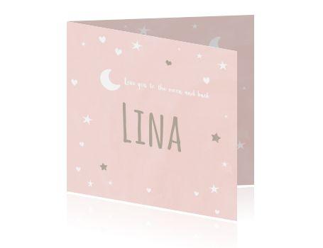 """Super lief geboortekaartje met waterverf, sterretjes, hartjes, maan en de tekst """"Love you to the moon and back"""" Zo schattig voor een meisje!"""