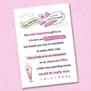 25 X Wedding Honeymoon Poem Cards For Your Invitations