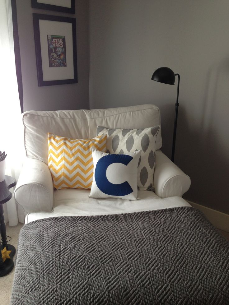 change that pillow to a u0027wu0027 and put the chair in the corner of the bedroom for a reading nook love the color scheme as well swap out the blue colouring