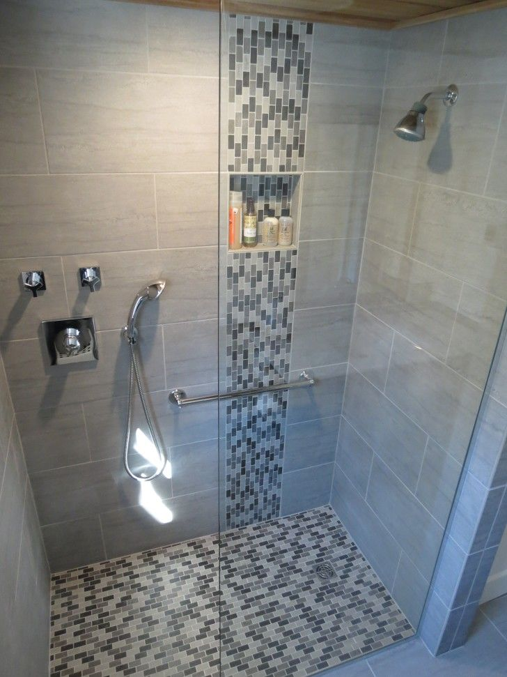 Bathroom. Likeable Shower Designs With Glass Tile For Bathroom Renovation Ideas. chrome wall mounted waterfall on gray ceramic wall panel with glass mosaic accent combined with stainless steel grab bar on glass shower door panel