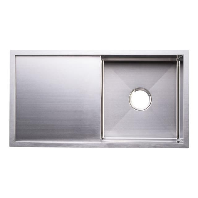 Stainless-Steel-Undermount-Butler-Belfast-Kitchen-Sink MODEL 358 Undermount / Topmount Single Bowl with Drainer Material: SS 50 Years Guarantee on Manufacturing Defects Steel Thickness: 1.5mm Steel Gauge: 16 Template: Included Mounting Clips: Included Waste: 90mm Waste Hole Bowl Size: (Width) 455mm x (Length) 400mm x (Depth) 228mm Overall Sink Size: (Width) 960mm x (Length) 450mm x (Depth) 228mm Minimum Cabinet Size: 600mm Free Strainer Waste and P-Trap Included
