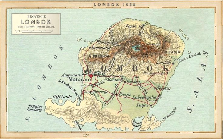 """Lombok 1938 edited from the Dutch Map """"Oost Java"""" the colonial """"Peta Tua""""shows only a small corner with Bali and Lombok combined.  Very few vintage or older single island maps exist of Lombok unlike its famous neighbor."""