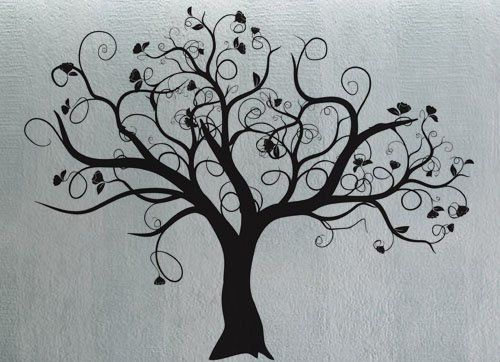 Wonderful Tree Wall Templates | Aesthetically Pleasing Black Tree Wall Decals