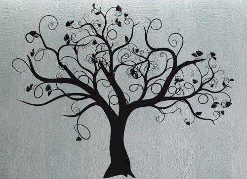 Wonderful Tree Wall Templates | Aesthetically Pleasing Black Tree Wall Decals