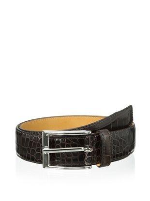 75% OFF Leone Braconi Men's Crocodile Print Belt (Brown)