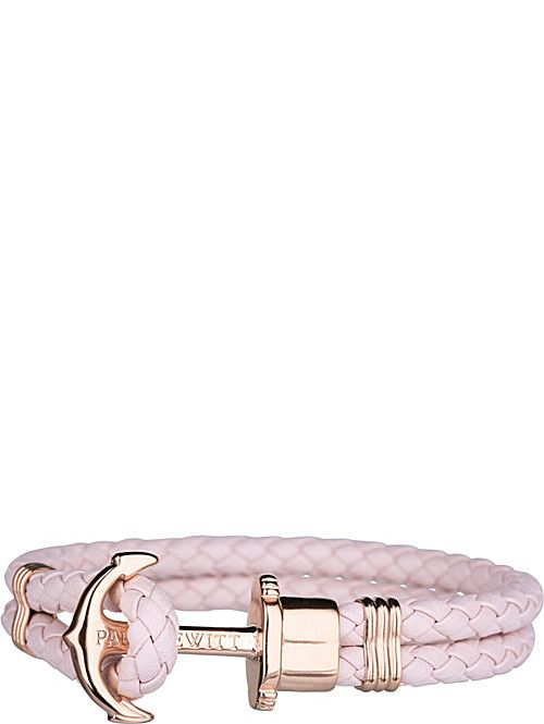 PAUL HEWITT Phrep leather and rose gold-plated stainless steel bracelet