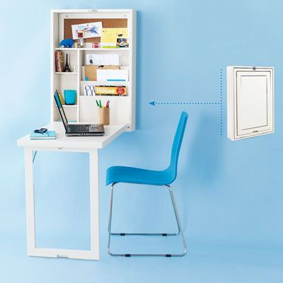 This clever workspace folds into a cabinet outfitted with pockets, adjustable shelves, and a corkboard.    $230; World Market