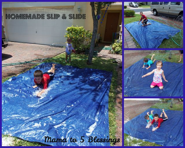 Mama to 5 Blessings - Our Homeschool Blog: HOMEMADE WATER SUMMER FUN How to make a homemade slip and slide, one that will last all summer long! http://mamato3blessings.blogspot.com/2013/06/homemade-water-summer-fun-learn-link.html
