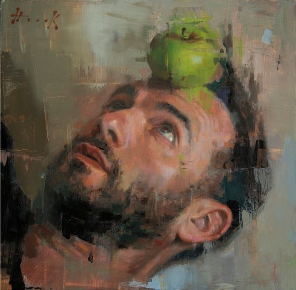Self Portrait with apple green - Christian Hook
